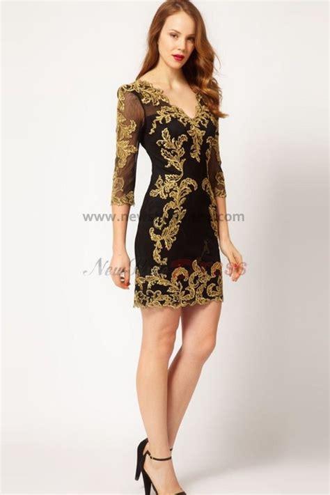 Overall Dress Diskon v neck 3 4 length sleeves black 2014 sale
