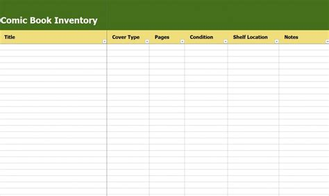 book template excel comic book inventory comic book inventory list