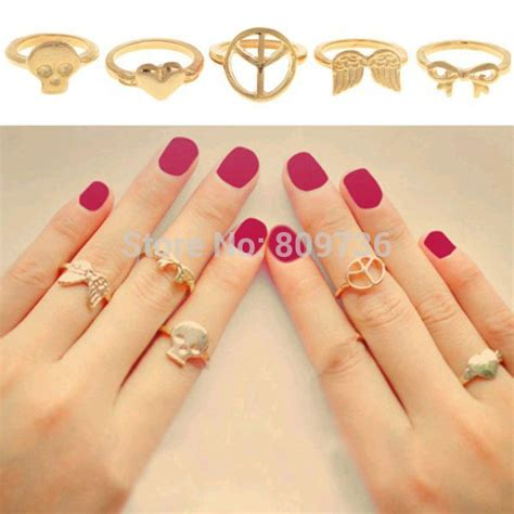 5pcs peace wings skull bow simple band midi mid