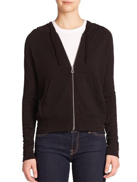 Jaket Zipper Hoodie Sweater Nin Hitam cotton zip hoodie in black lyst