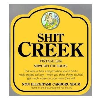 fun wine bottle label & gift bag shit creek jacobs creek