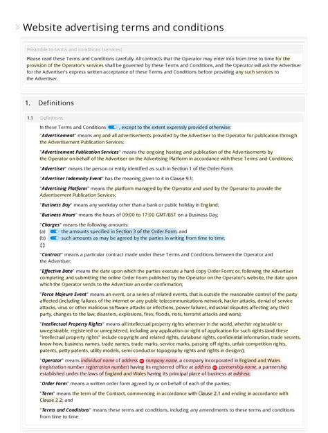 advertising terms and conditions template website advertising terms and conditions docular