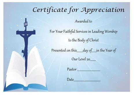 pastor appreciation certificate template free thoughtful pastor appreciation certificate templates to