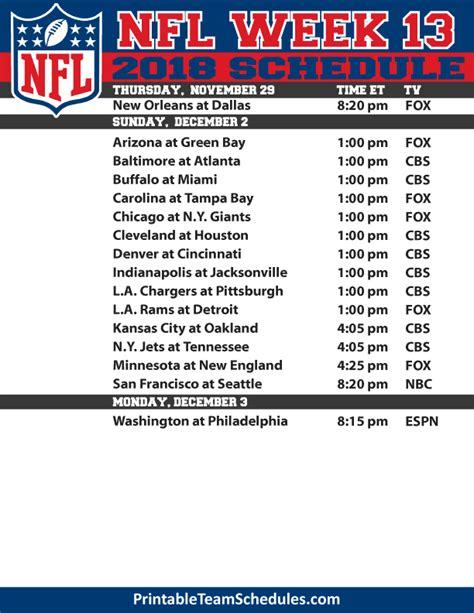 Printable Nfl Schedule Week 13 | printable nfl week 13 tv schedule 2018