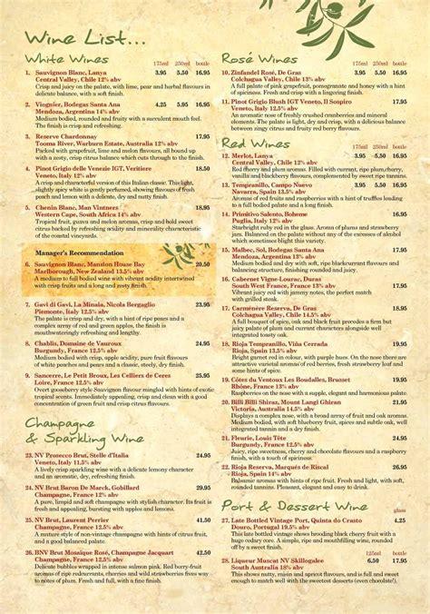 4 of 10 price lists menus the olive tree york york