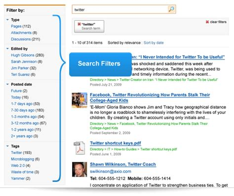 Search Filters Version 3 6 Thoughtfarmer Social Intranet Software