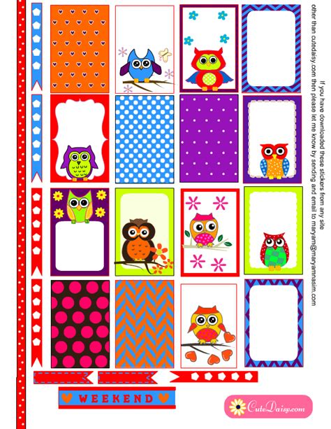 printable owl stickers colorful owl stickers for planner