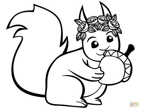 acorn coloring pages squirrel with an acorn coloring page free printable