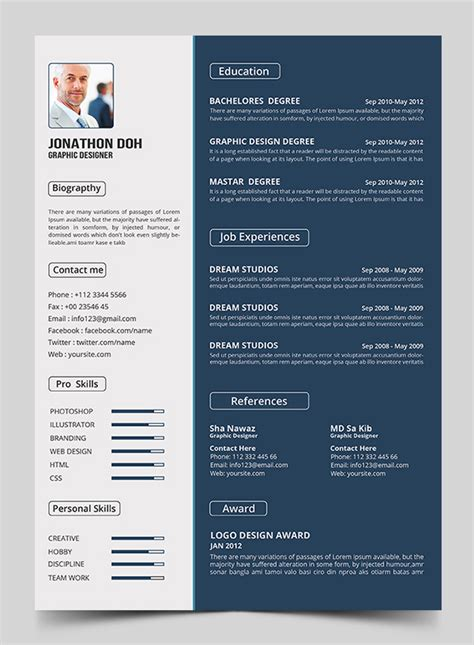 The Best Resumes Examples by 15 Free Elegant Modern Cv Resume Templates Psd