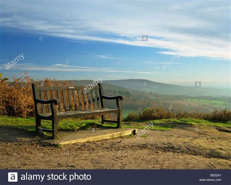 bench on pitch hill with view along the greensand ridge