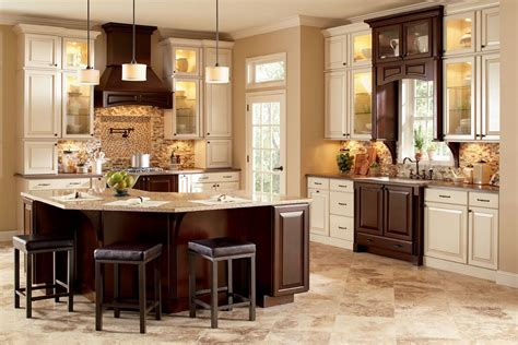 White And Brown Kitchen Cabinets | two tone kitchen cabinets brown and white image