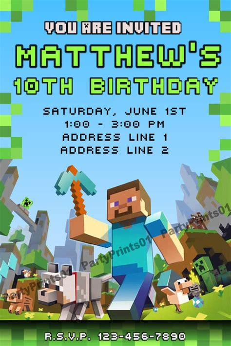 minecraft invitations printable minecraft personalized