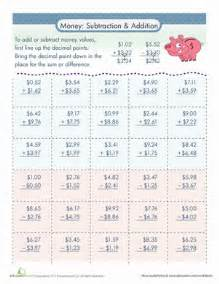 money addition and subtraction worksheet education com