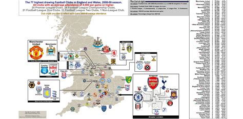 map uk football clubs attendance map of all football clubs that drew
