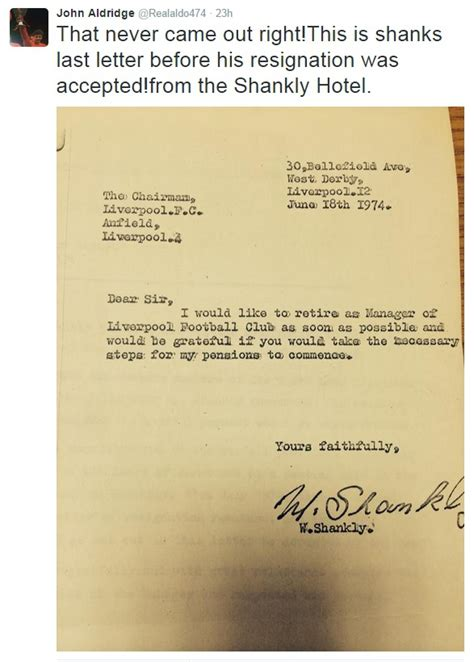 Resignation Letter Hotel Liverpool Fc Legend Bill Shankly S Resignation Letter Revealed Liverpool Echo