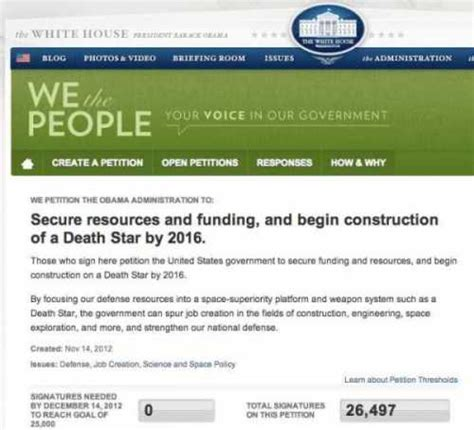 white house death star white house petition for quot american death star quot clears threshold