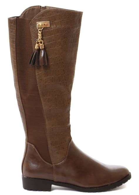 boots moc croc brown knee high boots