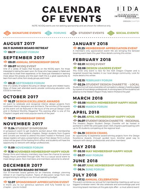 Calendar Events 2018 Calendar Of Events Iida Oregon Chapter
