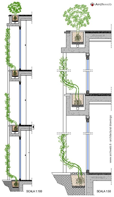 vasi dwg vertical garden drawings