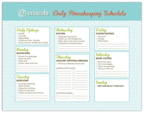 house schedule daily house cleaning schedule