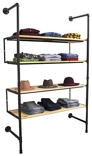 displays2go display products pos retail fixtures industrial pipe shelving wall unit adjustable accessory