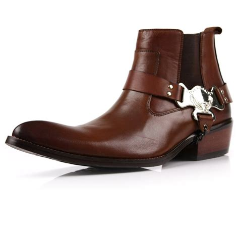 mens cowboy boot slippers new real leather s ankle cowboy western boots formal