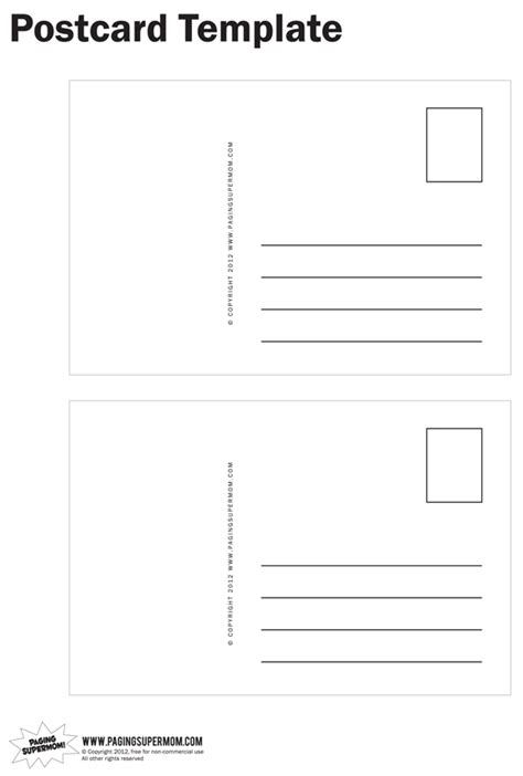postcard free template printable postcard template paging supermom