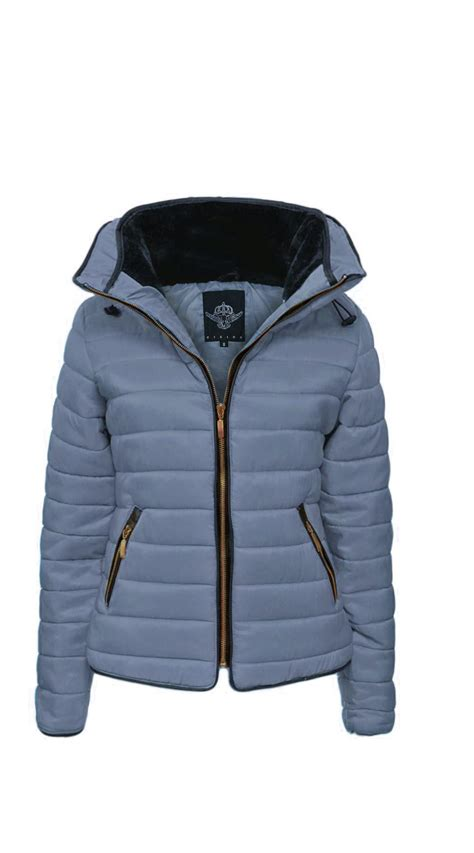 Zip Padded Jacket new womens quilted puffer padded jacket fur collar
