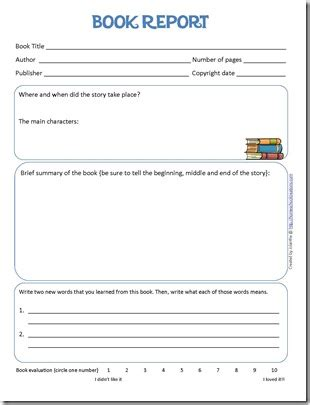 book review template elementary book report form and reading log printables