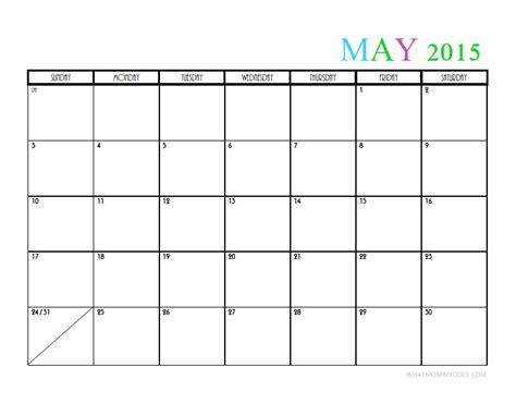Calendar 2015 May Template 2015 Monthly Calendar Templates