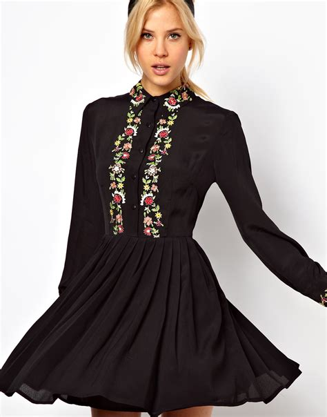 Wst 17567 Black Flower Shirt Dress lyst asos shirt dress with floral embroidery in black