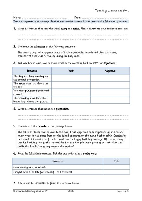 year 6 grammar revision home page