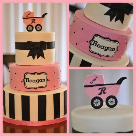 Black And Pink Baby Shower Cakes by Pink Black White Baby Shower Cake Baby Shower My