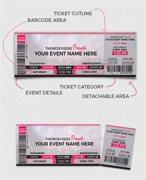 event ticket layout 66 multipurpose ticket templates 2018 psd vector word