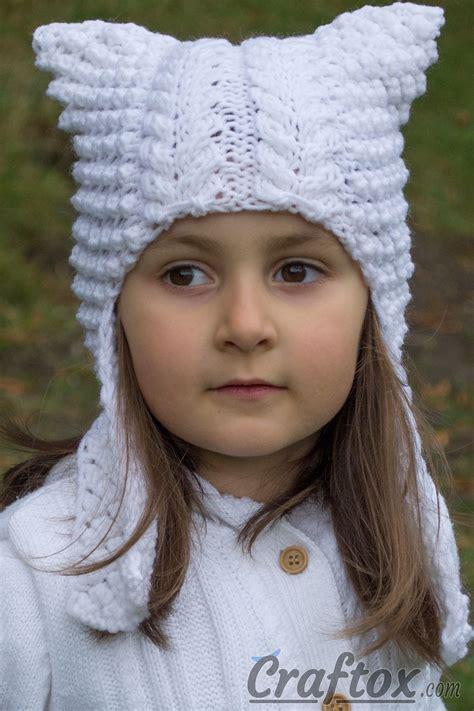 knit cat ear hat pattern cat ear flap hat quot quot free knitting pattern