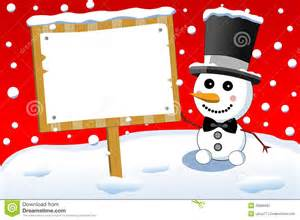 little cute snowman and christmas sign board stock vector