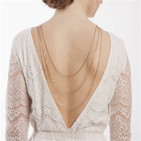 back drape necklace bridal back drape necklace in rose gold by rose red