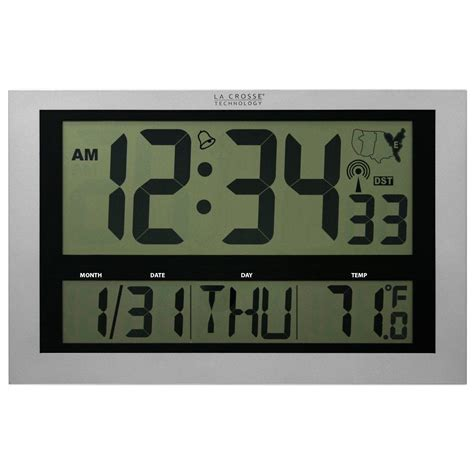digital wall clocks la crosse technology jumbo digital atomic wall clock with