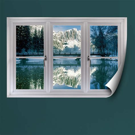 faux window winter at yosemite instant window wall decal shop