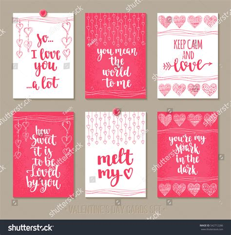 set valentines day greeting cards handwritten stock vector