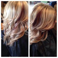 dirty blonde bob hairstyle with peek a boo highlights beautiful earthy purple lowlights hair by nikki speranza