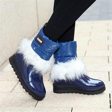 Sneaker Wedges White Snow Brokat Terbaru fashion s snow boots platform warm shoes blue black white patent leather flat