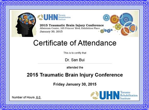 certificate of attendance conference template clinic toronto treatment toronto 6 locations