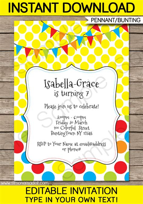 Colorful Bunting Invitations Template Birthday Party And Invite Template