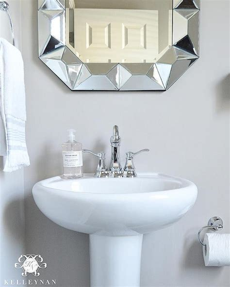 bathroom sink mirror powder room pedestal sink with geometric mirror
