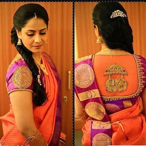 traditional blouse traditional saree blouse pattern in purple orange
