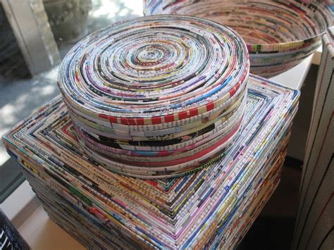 rolled magazine paper crafts rolled magazine box recycled craft
