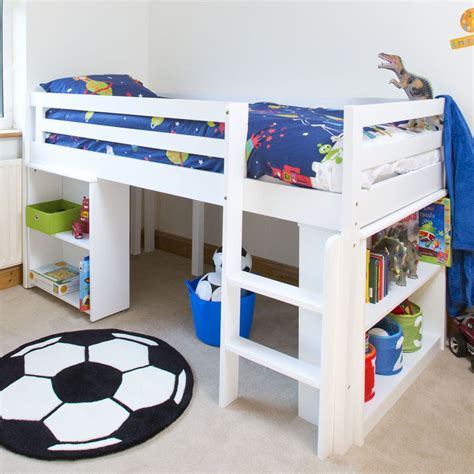 Childrens Bed mid sleeper single cabin bed w bed storage desk bookcase white ebay