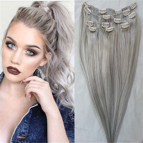 hair clip ons salt and pepper gray clip in human hair extensions 120g set peruvian