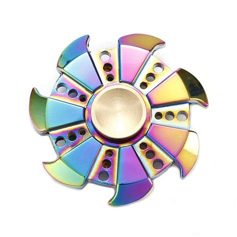 Fidget Spinner Theree Side Rainbowhand Spinner Time Spin 3 7 Menit rainbow multi blade fidget spinner